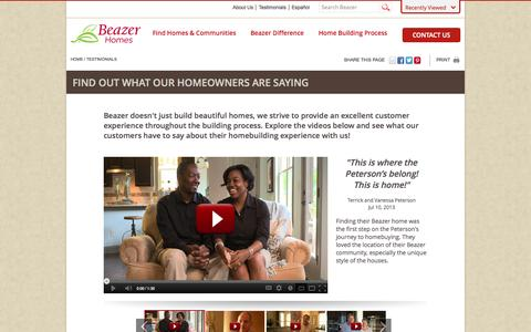 Screenshot of Testimonials Page beazer.com - Beazer Homes - captured Sept. 19, 2014