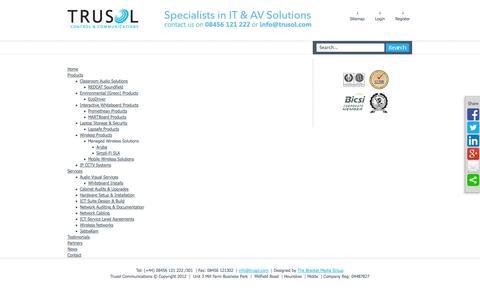 Screenshot of Site Map Page trusol.com - Trusol Control & Communications - captured Oct. 9, 2014