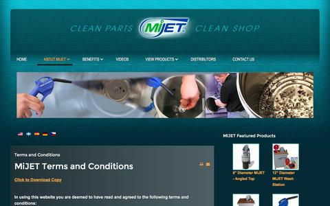 Screenshot of Terms Page mijet.com - MiJET Clean Shop, Clean Air Units - Policies, Terms &  Conditions - captured Aug. 11, 2016