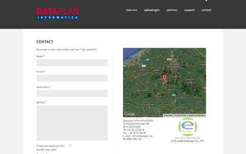 Screenshot of Contact Page dataplan.be - Contact - captured Oct. 5, 2014