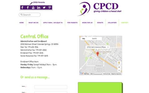 Screenshot of Contact Page cpcdheadstart.org - CPCD contact - captured July 9, 2017