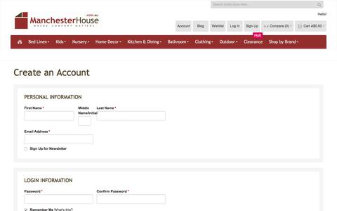 Screenshot of Signup Page manchesterhouse.com.au - Create New Customer Account - captured July 27, 2018