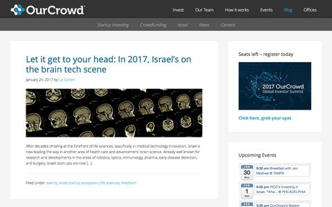 Screenshot of Blog ourcrowd.com - OurCrowd - A better way to invest in startups. - captured Jan. 25, 2017