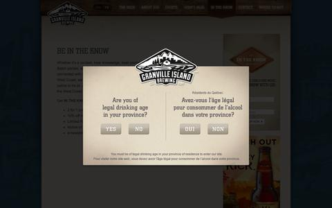 Screenshot of Signup Page gib.ca - Granville Island Brewing  |  IN THE KNOW - captured Oct. 3, 2014