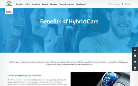 Screenshot of toyota.co.uk - What Are The Benefits Of Hybrid Cars & Vehicles? | Toyota UK - captured Aug. 28, 2017