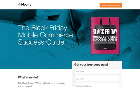 Screenshot of Landing Page mobify.com - Black Friday Mobile Commerce Success Guide - captured Oct. 20, 2016