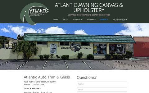 Screenshot of Contact Page atlanticautotrim.com - Contact Atlantic Awning Canvas & Upholstery - Custom - captured Nov. 21, 2016