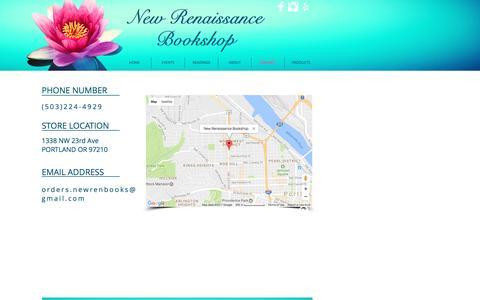 Screenshot of Contact Page newrenbooks.com - New Renaissance Bookshop - captured March 4, 2017