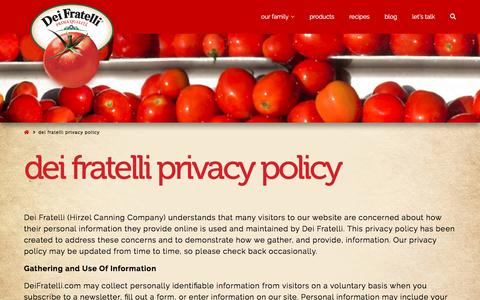 Screenshot of Privacy Page deifratelli.com - Dei Fratelli Privacy Policy - Dei Fratelli Tomatoes - captured Sept. 22, 2018