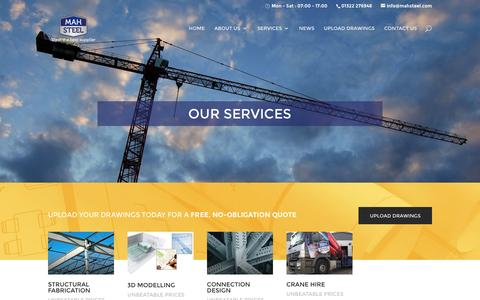 Screenshot of Services Page mahsteel.com - Services - MAH Steel - captured Feb. 2, 2016