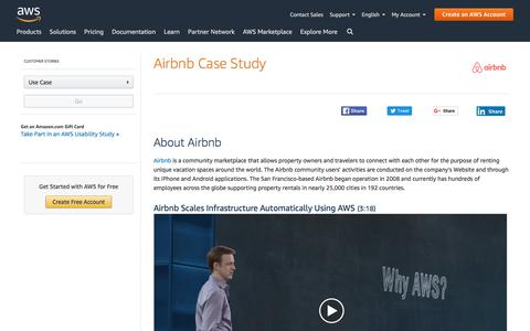 Screenshot of Case Studies Page amazon.com - Airbnb Case Study – Amazon Web Services (AWS) - captured June 27, 2019