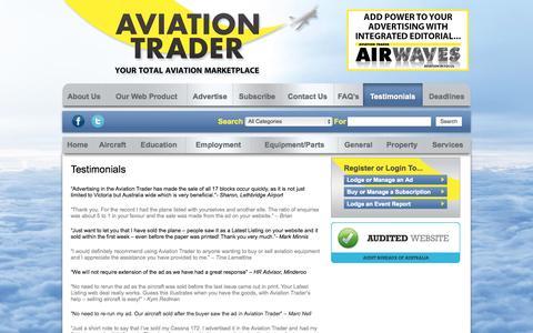 Screenshot of Testimonials Page aviationtrader.com.au - Aviation Trader -   Testimonials - captured Sept. 30, 2014