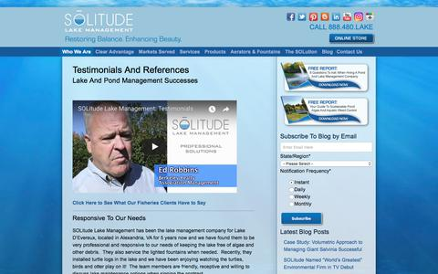 Screenshot of Testimonials Page solitudelakemanagement.com - Lake And Pond Management Testimonials And References - captured July 26, 2018