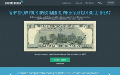 Screenshot of Home Page groundfloor.us - GROUNDFLOOR | The new finance, raised to the power of us - captured July 17, 2014
