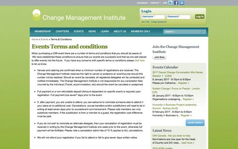 Screenshot of Terms Page change-management-institute.com - Events Terms and conditions | Change Management Institute - captured Dec. 31, 2016