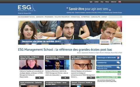 Screenshot of Home Page esgms.fr - Ecole de Commerce et Management à Paris - captured Sept. 24, 2014