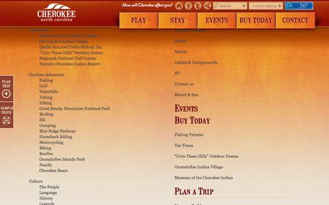 Screenshot of Site Map Page visitcherokeenc.com - SiteMap | Cherokee, NC - captured Sept. 22, 2014