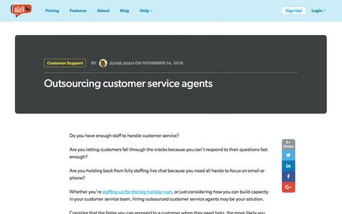 Screenshot of Support Page olark.com - Outsourcing customer service agents - captured Feb. 10, 2017