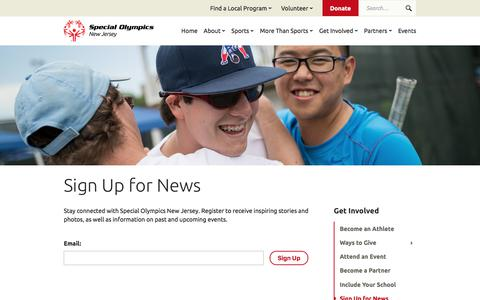 Screenshot of Signup Page sonj.org - Sign Up for News   Special Olympics New Jersey - captured Feb. 27, 2018
