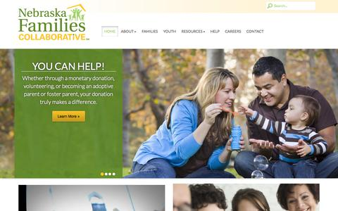 Screenshot of Home Page nebraskafc.org - Nebraska Family Collaborative - captured Oct. 7, 2014