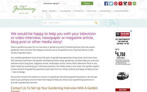 Screenshot of Press Page gardeningknowhow.com - Media Inquiries For Gardening Experts And Gardener InterviewsGardening Know How - captured May 14, 2017