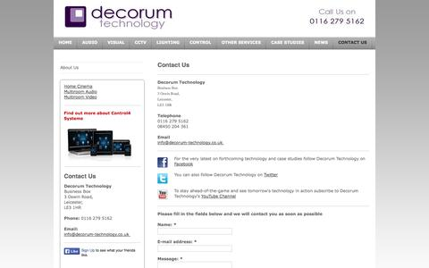 Screenshot of Contact Page decorum-technology.co.uk - Audio Visual Installers   Leicestershire, Lancashire & Cambridgeshire   Decorum Technology   Contact Us - captured Sept. 30, 2014