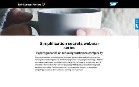 Simplification secrets webinar series             | SuccessFactors