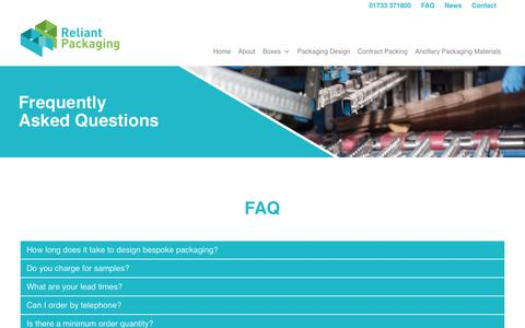 Screenshot of FAQ Page reliantpackaging.co.uk - Frequently Asked Questions Archive - Reliant Packaging Ltd : Reliant Packaging Ltd - captured Oct. 20, 2018