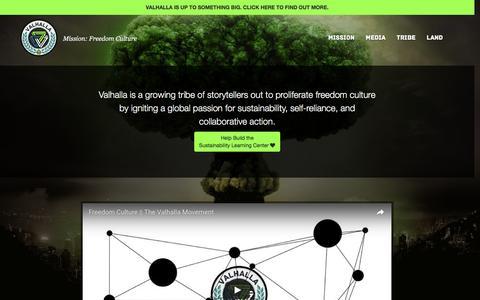 Screenshot of Home Page valhallamovement.com - The Valhalla Movement - captured Aug. 30, 2016