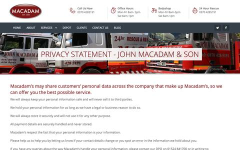 Screenshot of Privacy Page macadams.co.uk - Privacy Statement - John Macadam & son - captured Oct. 14, 2018