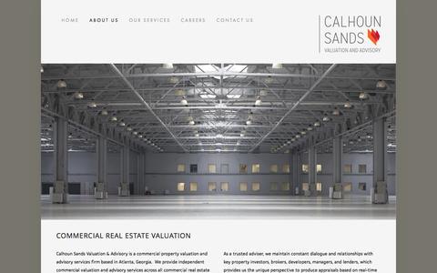 Screenshot of About Page calhounsands.com - About Us — Calhoun Sands Valuation & Advisory, Inc. - captured Oct. 1, 2014