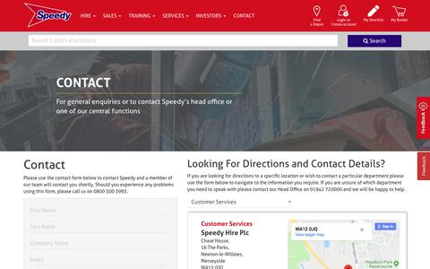 Screenshot of Contact Page speedyservices.com - Contact | Speedy Services - captured Aug. 20, 2019