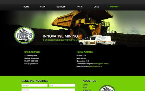 Screenshot of Contact Page imes.com.au - Contact | Plasma Transfer Arc Welding, Fabrication of Wear Parts Australia - Innovative Mining and Engineering - captured Nov. 26, 2016
