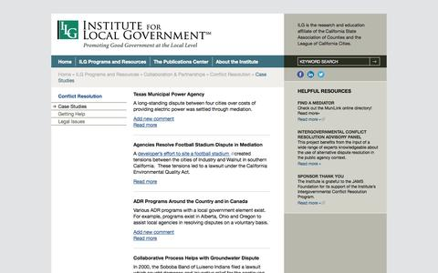 Screenshot of Case Studies Page ca-ilg.org - Case Studies - Institute for Local Government - captured Oct. 6, 2014