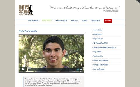 Screenshot of Testimonials Page boystomen.org - Testimonials – Boys to Men - captured Oct. 11, 2017