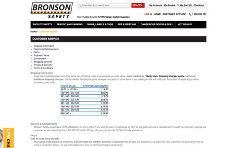 Screenshot of FAQ Page Terms Page bronsonsafety.com.au - Customer Service - captured Sept. 30, 2014