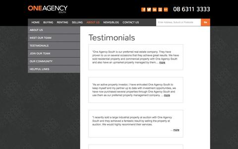 Screenshot of Testimonials Page oneagencysouth.com.au - One Agency | One Agency - captured Oct. 9, 2014