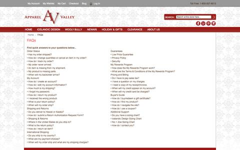 Screenshot of FAQ Page apparelvalley.com - Apparel Valley -  FAQs - captured Sept. 30, 2014