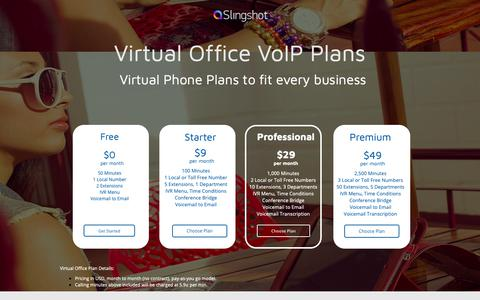 Screenshot of Pricing Page slingshotvoip.com - Slingshot VoIP | Virtual Office VoIP Plans - captured Oct. 19, 2018