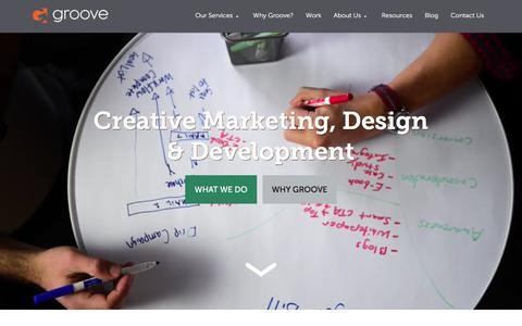 Screenshot of Home Page gotgroove.com - Magento Experts | Hubspot Platinum Partner | Groove: Creative Marketing, Design & Development - captured Feb. 21, 2016