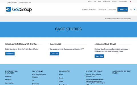 Screenshot of Case Studies Page go2group.com - Case Studies - Go2Group - captured Dec. 10, 2015