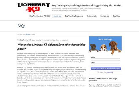 Screenshot of FAQ Page lionheartk9.com - Our Dog Training FAQ for questions about Lionheart K9 - captured Sept. 26, 2014