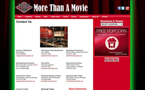 Screenshot of Contact Page cinemacafe.com - Cinema Cafe | Contact Us - captured July 13, 2016