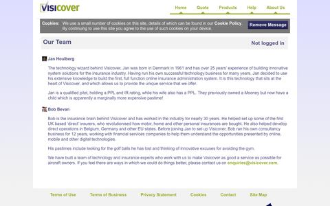 Screenshot of Team Page visicover.com - Visicover | Our Team - captured Feb. 28, 2016
