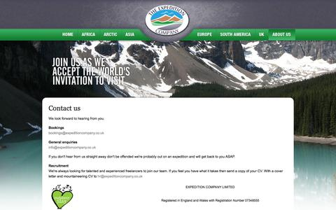 Screenshot of Contact Page expeditioncompany.co.uk - Contact page for trekking and expeditions - captured Oct. 26, 2014