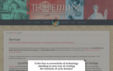 Screenshot of Services Page techiemuse.com - Services | Techie Muse - captured Jan. 14, 2016