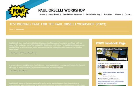 Screenshot of Testimonials Page orselli.net - Testimonials - Paul Orselli WorkshopPaul Orselli Workshop - captured Jan. 23, 2016