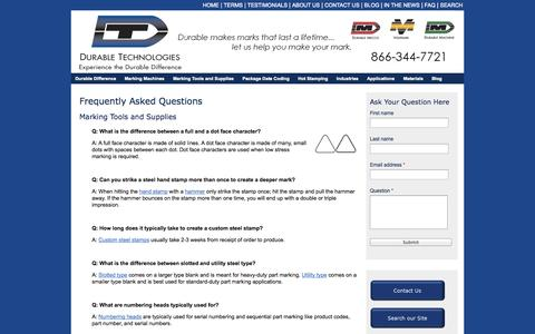 Screenshot of FAQ Page durable-tech.com - Frequently Asked Questions | Durable Technologies - captured Oct. 5, 2014