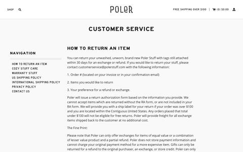 Screenshot of Privacy Page Contact Page Support Page polerstuff.com - Customer Service                      – Poler Stuff - captured July 24, 2018
