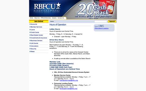 Screenshot of Hours Page rbfcu.org - Hours of Operation & Business Hours | RBFCU - captured Oct. 26, 2014